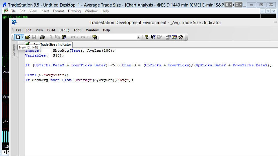 screen grab of the TradeStation EasyLanguage code to calculate average trade size